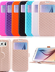 abordables -Funda Para Samsung Galaxy Funda Samsung Galaxy Soporte de Coche / con Soporte / con Ventana Funda de Cuerpo Entero Un Color Cuero de PU para S6