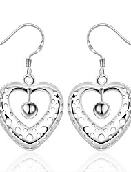 cheap -Women's Girls' Dangle Earrings Crystal Heart Silver Plated Heart Geometric Jewelry For Wedding Party Daily Casual
