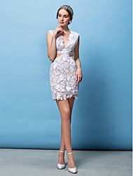 Sheath / Column V-neck Short / Mini Lace Wedding Dress with Appliques by LAN TING BRIDE®