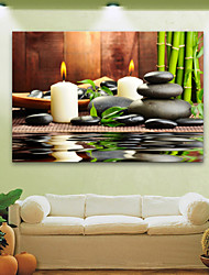cheap -E-HOME® Stretched LED Canvas Print Art Candles And Stones LED Flashing Optical Fiber Print