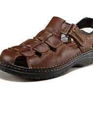 Недорогие -Для мужчин обувь Телячья шерсть Весна Лето Босоножки Назначение Черный Коричневый
