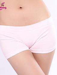 baratos -Mulheres Média Sem Costura Fibra Sintética Algodão Organico Preto Bege Azul Rosa claro