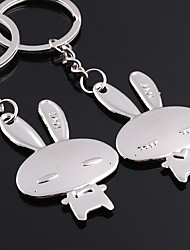 cheap -Alloy Silver Plated Rabbit Keychain Key Ring for Lover Valentine's Day(One Pair)