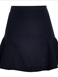 Damen Röcke  -  Leger/Arbeit Mini Chiffon Mikro-elastisch