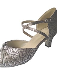 cheap -Women's Men's Latin Salsa Standard Shoes Sparkling Glitter Sandal Indoor Customized Heel Grey Customizable