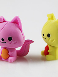 Lovely Cartoon Fox DIY Rubber Eraser School Student Children Prizes Gift Promotion Assemble Toy Random Color