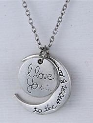 Alloy Moon and Heart I Love You to the Moon and Back Necklace(More Colors)