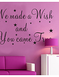 cheap -We Made A Wish And You Came True Wall Decals Zooyoo8137 Decorative  Removable Vinyl Wall Stickers