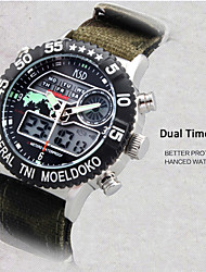 cheap -Men's Wrist Watch Alarm / Calendar / date / day / Chronograph Nylon Band Charm Black / Green / Water Resistant / Water Proof / LED / Dual Time Zones