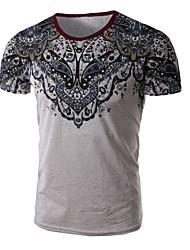 Masculino Camiseta Algodão / Poliéster Estampado Manga Curta Casual / Escritório / Tamanhos Grandes-Azul / Branco