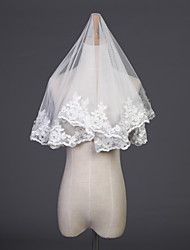 Wedding Veil One-tier Elbow Veils Lace Applique Edge 37.4 in (95cm) Tulle Ivory