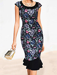 cheap -2015 New Women Elegant Vintage Print Puff Sleeve Peter Pan Collar Button Mermaid Party Dress S-XXL