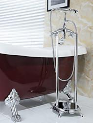 preiswerte -Antik bodenmontiert Handdusche inklusive Bodenstand with  Keramisches Ventil Zwei Griffe Zwei Löcher for  Chrom , Badewannenarmaturen