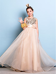A-Line Jewel Neck Floor Length Organza Sequined Junior Bridesmaid Dress with Flower(s) Sash / Ribbon Sequins by LAN TING BRIDE®