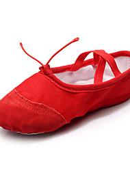 cheap -Women's Ballet Shoes Paillette / Leather / Canvas Flat / Sandal Sequin / Lace-up Flat Heel Customizable Dance Shoes White / Red / Beige
