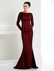 TS couture® формальный вечер / черный галстук гала-платье плюс размер / изящная труба / русалка Бато развертки / щетка поезд кружева с