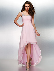 cheap -A-Line Spaghetti Straps Asymmetrical Georgette Prom Formal Evening Dress with Beading Ruching by TS Couture®
