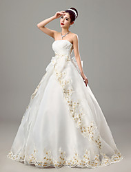 cheap -Ball Gown Strapless Floor Length Organza Wedding Dress with Criss-Cross by Embroidered bridal