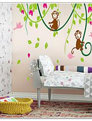 scimmie che giocano con gli uccelli sulla vite albero adesivo zooyoo9012 decorativo della parete del PVC smontabile