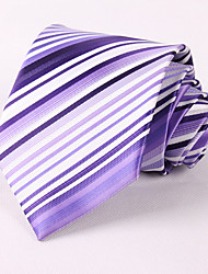 Недорогие -мужская вечеринка / вечерняя свадьба формальный фиолетовый полосатый полиэфирный галстук