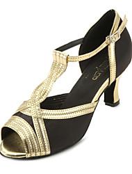 Može se prilagoditi - Ženske - Plesne cipele - Balska sala / Latin / Salsa - Satin / Vještačka koža - Prilagođeno Heel - Zlato