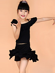 cheap -Latin Dance Outfits Children's Training Performance Polyester Short Sleeve Natural Top Skirt