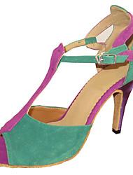 Feminino Latina Salsa Sapatos Padrão Camurça Sandália Interior Salto Personalizado Multi Cor Personalizável