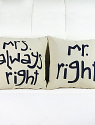 Set of 2 Mr Right Throw Pillow Case Pillowcase Sofa Home Decor Cushion Cover