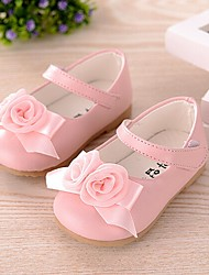 Girls' Baby Shoes Leatherette Spring Summer Fall Comfort Mary Jane First Walkers Flower Girl Shoes Flats Bowknot For Casual White Pink