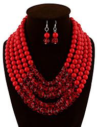 preiswerte -Damen Schmuckset Tropfen-Ohrringe Anhängerketten Retro Party Freizeit Fest/Feiertage Party Besondere Anlässe Geburtstag Künstliche Perle