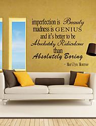 Недорогие -наклейки стены стиль наклейки несовершенство beatuy английских слов& цитирует наклейки ПВХ стены