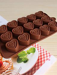 bakeware silicone em forma de coração moldes de cozimento para o chocolate