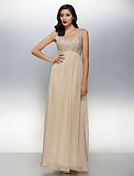 Linha A Decote V Longo Chiffon Evento Formal Vestido com Miçangas de TS Couture®