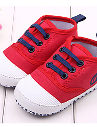 Boys' Girls' Baby Shoes Fabric Spring Fall First Walkers Flats For Casual Outdoor Dress White Red