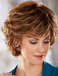 cheap -Synthetic Wig Straight / Body Wave Asymmetrical Haircut Synthetic Hair Natural Hairline Light Brown / Brown Wig Women's Short Capless Medium Auburn