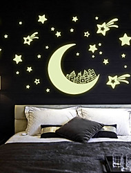 cheap -Luminous Wall Stickers Wall Decals Style Moon House Star PVC Wall Stickers