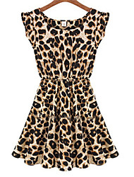 cheap -Women's Daily Sexy Above Knee Dress, Leopard Sleeveless