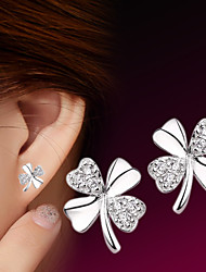 cheap -2016 Korean Unisex 925 Silver Sterling Silver Jewelry Earrings Clover Stud Earrings 1Pair