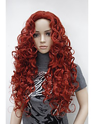 "cheap -New Fashion Charming 26"" Dark Red Long Curly Synthetic Women's Wig"