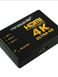 YONG WEI® 4 Port 3-in 1-out 4K×2K Ultra HD HDMI V1.4 3D Switcher