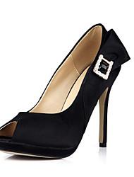 Women's Heels Summer Comfort Silk Wedding Party & Evening Dress Stiletto Heel Rhinestone Black Ivory