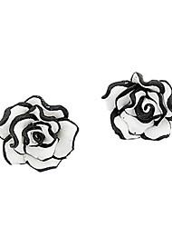Недорогие -сладкий черный и белый цветок розового цветка серьги классический женский стиль