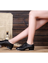 "Women's Tap Patent Leather Leatherette Heel Practice Indoor Lace-up Chunky Heel Black 2"" - 2 3/4"" Non Customizable"