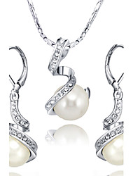 T&C Women's Noble White Pearl Jewelry Sets 18K White Gold Plated Austria Crystal Waterdrop Pendant Necklace Earrings Set