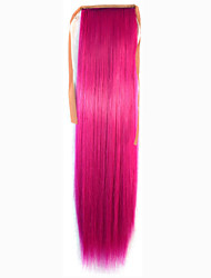 abordables -Rose Synthetic Queue de cheval Droit (Straight) Micro Ring Hair Extensions Queue de cheval 22inch gramme Moyen (90g-120g) Quantité