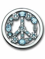 cheap -Valentine Day Gift 33mm Alloy Mi Moneda Silver Plated Blue Crystal Peace Sign Coin for 35mm Holder Pendant