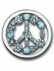 Недорогие -подарок на день Святого Валентина 33 мм сплава миль Монеда посеребренные синий кристалл знак мира монету 35 мм держатель кулона