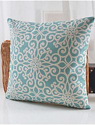 Blue Blossom Pattern Cotton/Linen Decorative Pillow Cover