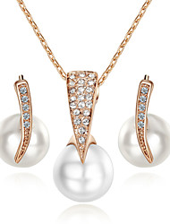 T&C Women's Concise Imitation Pearl Jewelry Sets 18K Rose Gold Plated with Crystal Pendant Necklace Earrings Set