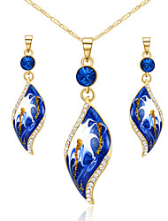 cheap -T&C Women's Sapphire Jewelry Set 18K Yellow Gold Plated Blue Crystal Leaf Style Pendant Necklace Earring Sets